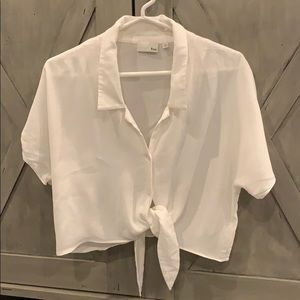 White Button Down Tie Front Blouse